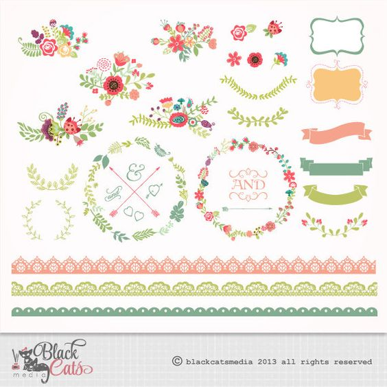 Logo ribbon clipart png vector library Flower frames and Lace Digital Clipart Ribbons and Frames for ... vector library