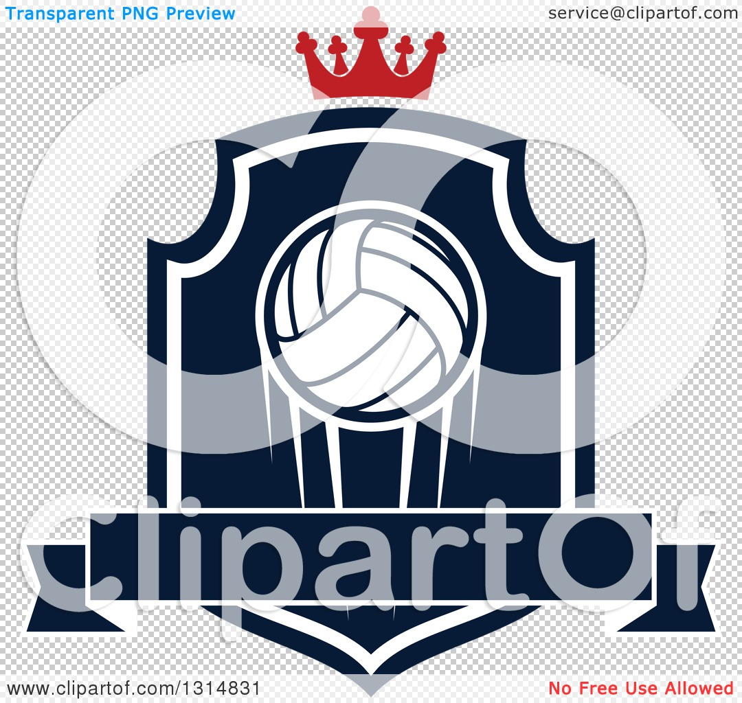Logo ribbon clipart png navy svg black and white stock Clipart of a Volleyball on a Navy Blue and White Shield with a ... svg black and white stock