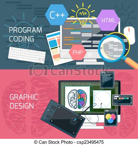 Logo vector clipart graphic design programs png transparent stock Vectors Illustration of Program coding and graphic design - Flat ... png transparent stock