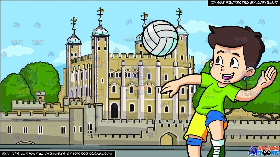 London background clipart clip royalty free library A Boy Spiking A Volleyball and The Tower Of London Background clip royalty free library