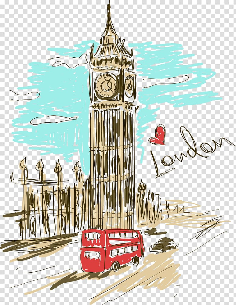 London background clipart banner library stock Red bus near Elizabeth Tower , Big Ben Paris Clock tower, painted ... banner library stock