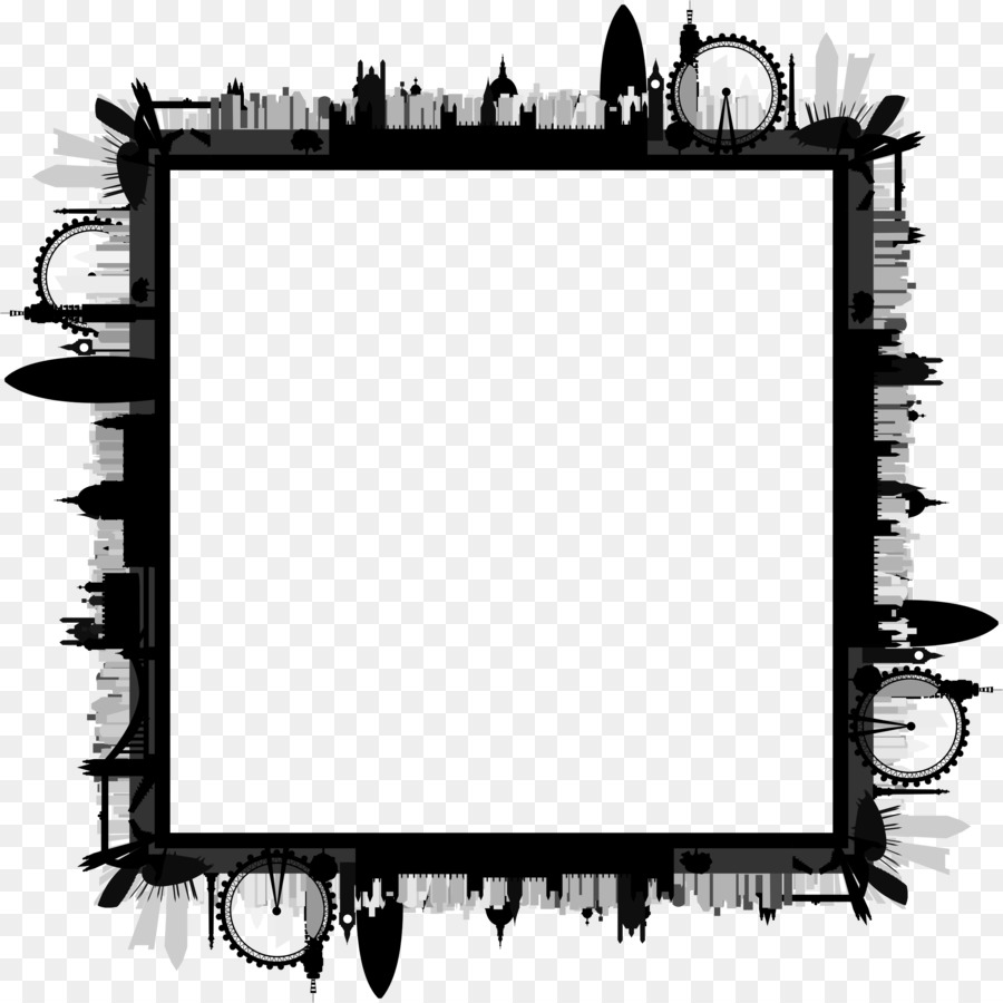 London clipart black and white transparent stock Border Design Black And White clipart - London, Skyline ... transparent stock