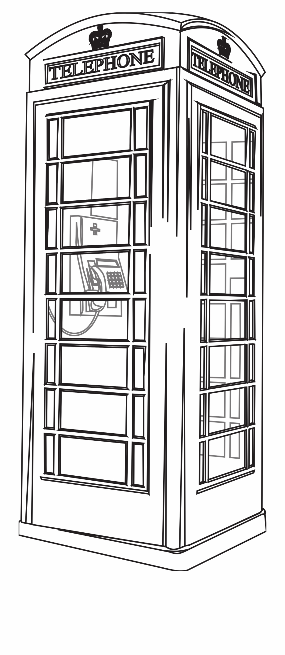 London clipart black and white image black and white Black And White London Phone Booth - Draw London Telephone Box Free ... image black and white