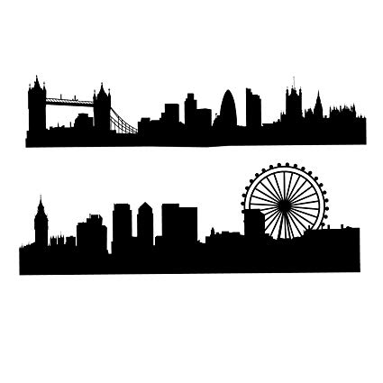 London skyline silhouette clipart graphic black and white library Amazon.com: London Skyline Silhouette - Large, Black - Vinyl Wall ... graphic black and white library
