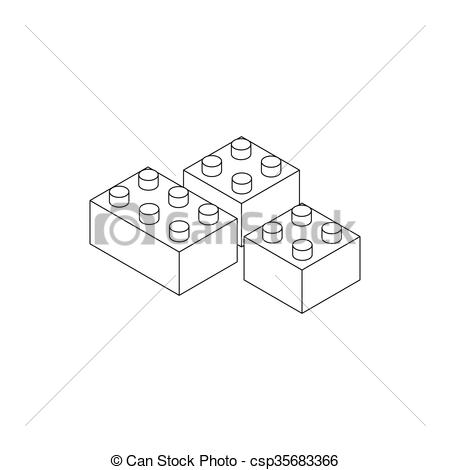 Long conectors toys clipart black and white graphic freeuse download Building connector bricks icon, isometric 3d style graphic freeuse download