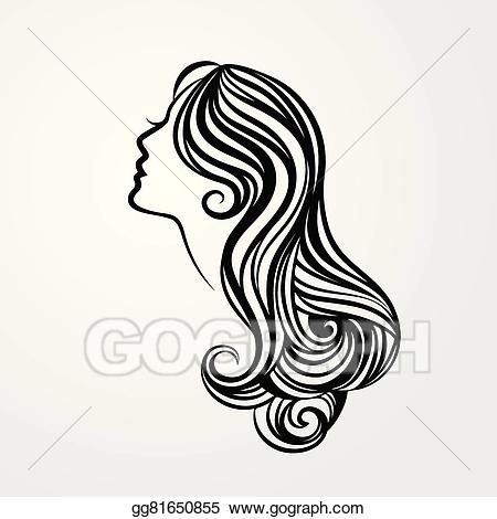 Long hair clipart png black and white stock Vector Illustration - Lady with a long hair portrait. EPS Clipart ... png black and white stock