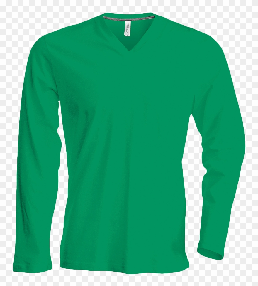 Long t shirt clipart svg free library Tee Shirt Col V Manches Longues Homme - Green Long Sleeve Top Men ... svg free library