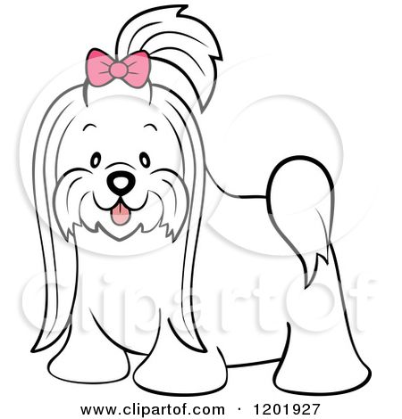 Long tail dog clipart free graphic royalty free stock Cartoon of a Cute Long Hair Maltese Dog with a Pink Bow - Royalty ... graphic royalty free stock