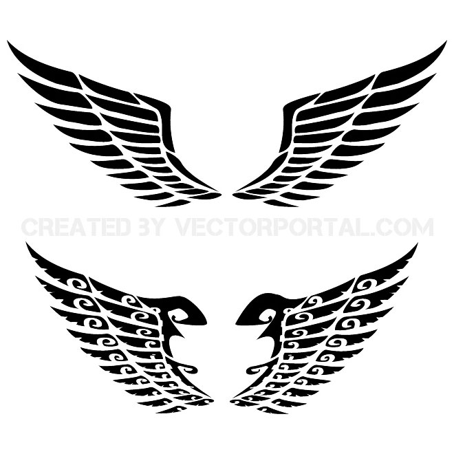 Long wings clipart clip art black and white library 14 Free Vector Wings Clip Art Images - Angel Wings Vector Art ... clip art black and white library