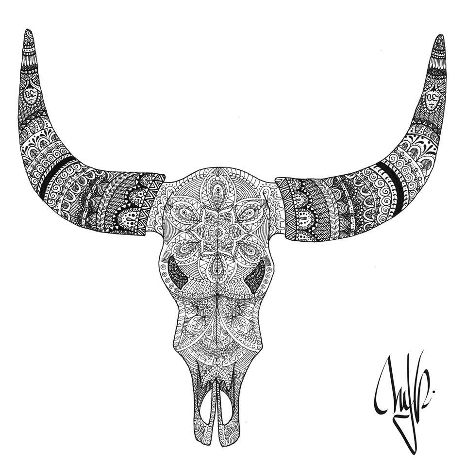 Longhorn skull with star of life clipart vector stock Life-long\