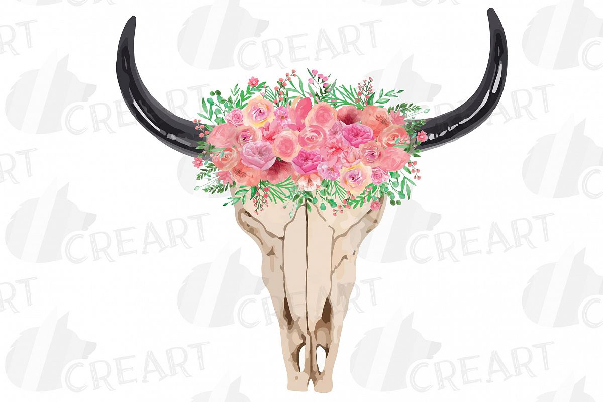 Longhorn skull with star of life clipart graphic freeuse Watercolor pink floral Bull Skull clipart, Indian Tribal png graphic freeuse