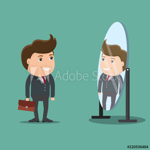 Looking at yourself in the mirror clipart image black and white stock Businessman looks yourself in the mirror.Vector illustration. - Buy ... image black and white stock