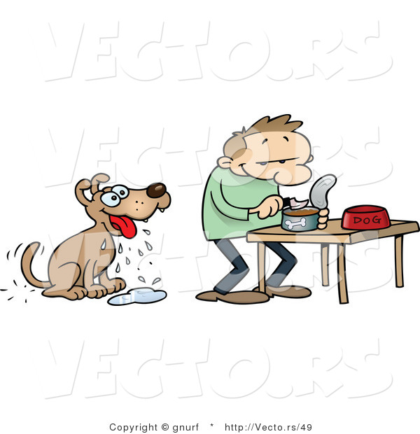 Looking for food clipart clip art library library Vector of a Hungry Cartoon Dog Looking at His Owner Prepare Him ... clip art library library