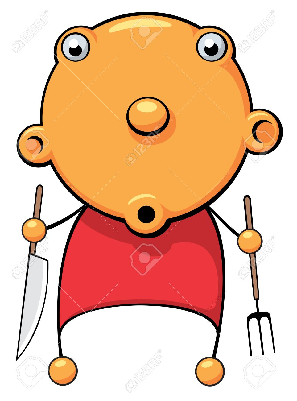 Looking for food clipart clip transparent Illustration Of A Hungry Baby With Fork And Knife In His Hands ... clip transparent