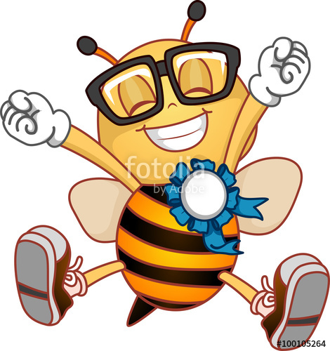 Looking for free clipart for a spelling bee award banner royalty free stock Bee Mascot Happy Ribbon Award\