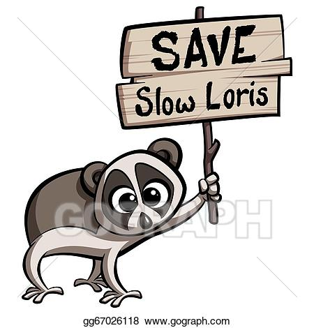 Loris clipart image library download Stock Illustration - Save slow loris cartoon animal. Clipart ... image library download