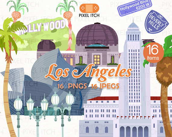 Los angeles cliparts graphic transparent stock Los Angeles ClipArt -Hollywood ClipArt -LA landmarks -Palm ... graphic transparent stock