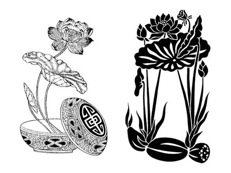 Lotus root clipart clip art black and white Free Both classic lotus lotus roots Clipart and Vector ... clip art black and white