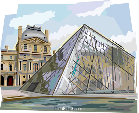 The louvre clipart clip art free stock Pyramid entrance at the Louvre, Paris Royalty Free Vector ... clip art free stock