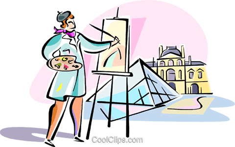 Louvre paris clipart banner black and white library artist painting Louvre, Paris Royalty Free Vector Clip Art ... banner black and white library