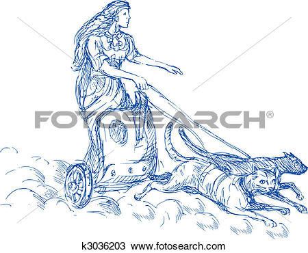 Love and beauty clipart png royalty free library Drawing of Freya Norse goddess of love and beauty riding a chariot ... png royalty free library