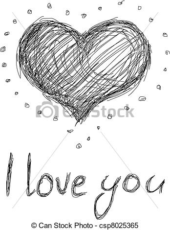 Love and beauty clipart clip art free library Clipart Vector of Outline heart - illustration - I love you ... clip art free library