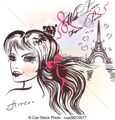 Love and beauty clipart svg black and white Vectors Illustration of Beautiful French coqette girl and Eifel ... svg black and white