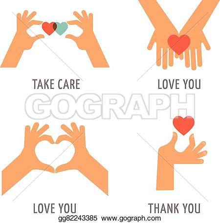Love and care clipart banner black and white stock Vector Stock - Hands set - support, love, thank you and take care ... banner black and white stock