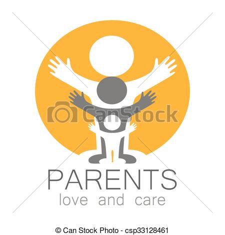 Love and care clipart jpg black and white Clip Art Vector of parents love care logo - Parents sign. Love and ... jpg black and white