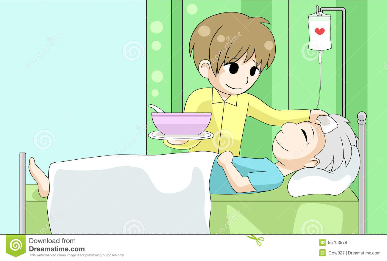 Love and caring clipart clip art freeuse stock Cute Cartoon Son Is Nursing His Old Sick Father With Love And Ca ... clip art freeuse stock