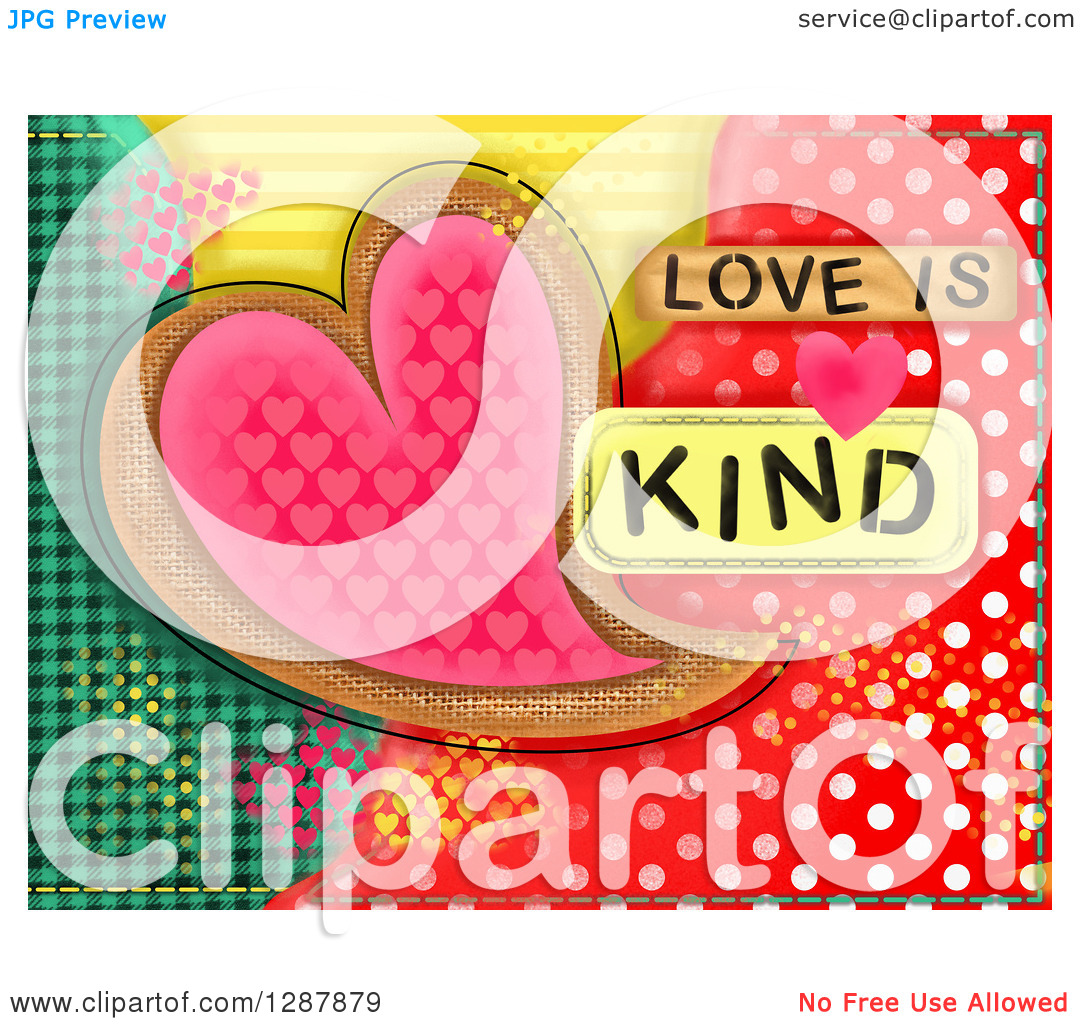 Love and kind clipart vector free library Clipart of a Heart over Colorful Patterns with Love Is Kind Text ... vector free library