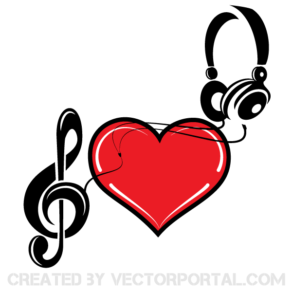 Love and music clipart vector black and white Music of Love Heart Vector Art | 123Freevectors vector black and white