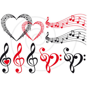 Love and music clipart svg free library Love music, music heart, musical notes, digital clip art set ... svg free library
