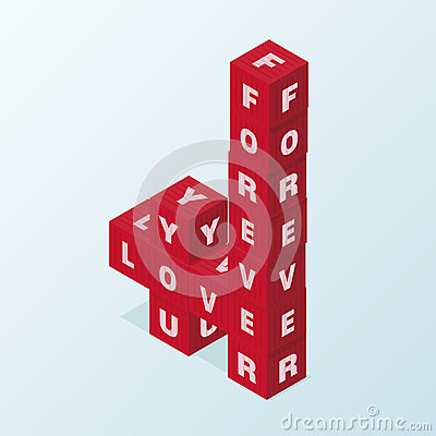 Love block word clipart vector freeuse Vertical Red Block Word LOVE YOU FOREVER Stock Vector - Image ... vector freeuse