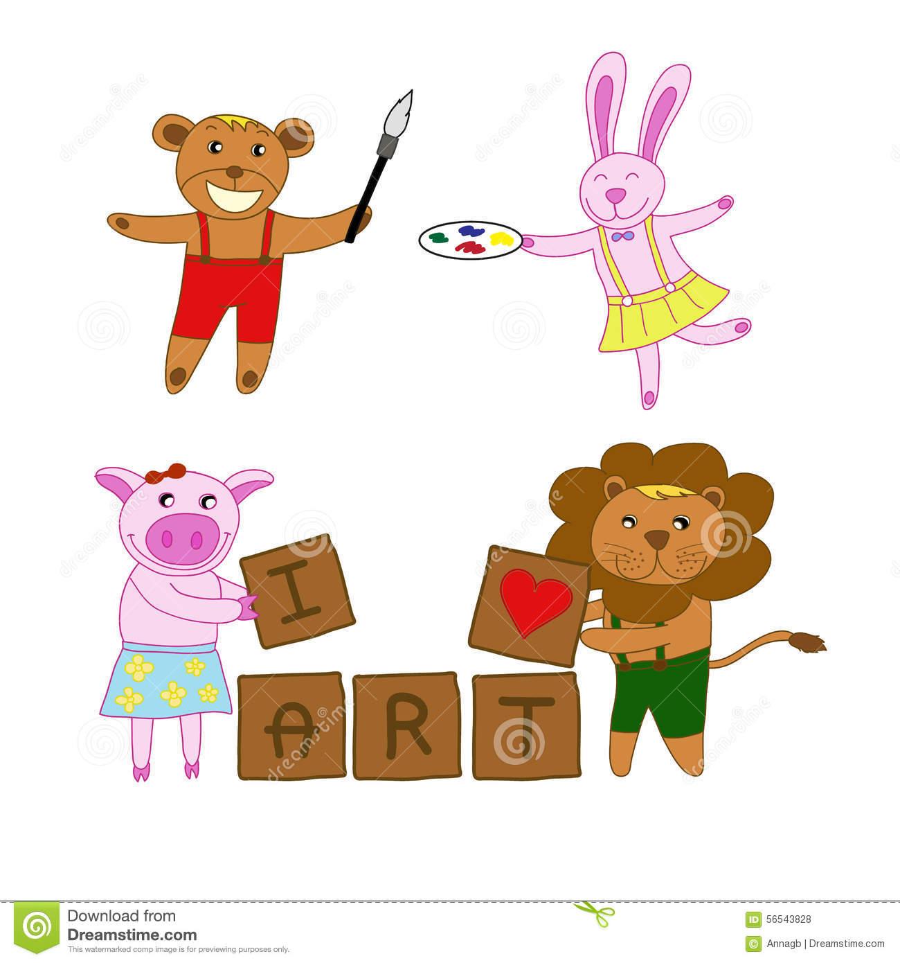 Love block word clipart clip art royalty free stock Bear,rabbit,pig,lion Love Art Holding Brush ,color Palette And ... clip art royalty free stock