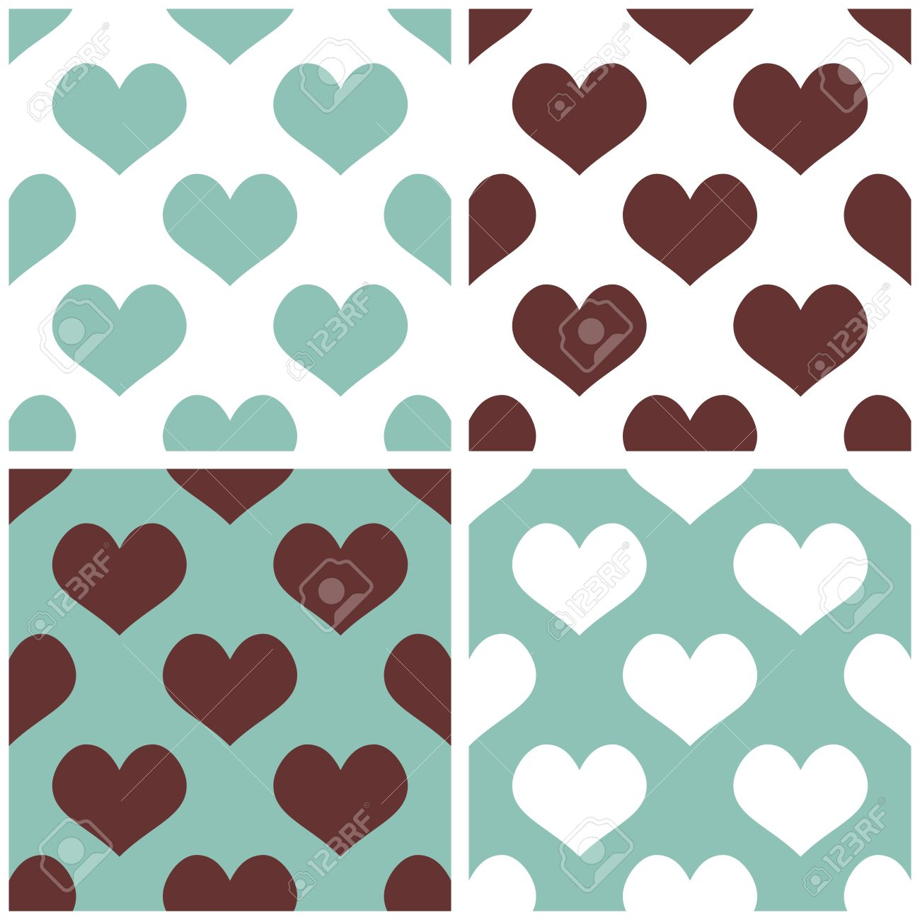 Love clipart mint gree vector free stock Seamless Vector Background Set With Hearts Full Of Love Pattern ... vector free stock