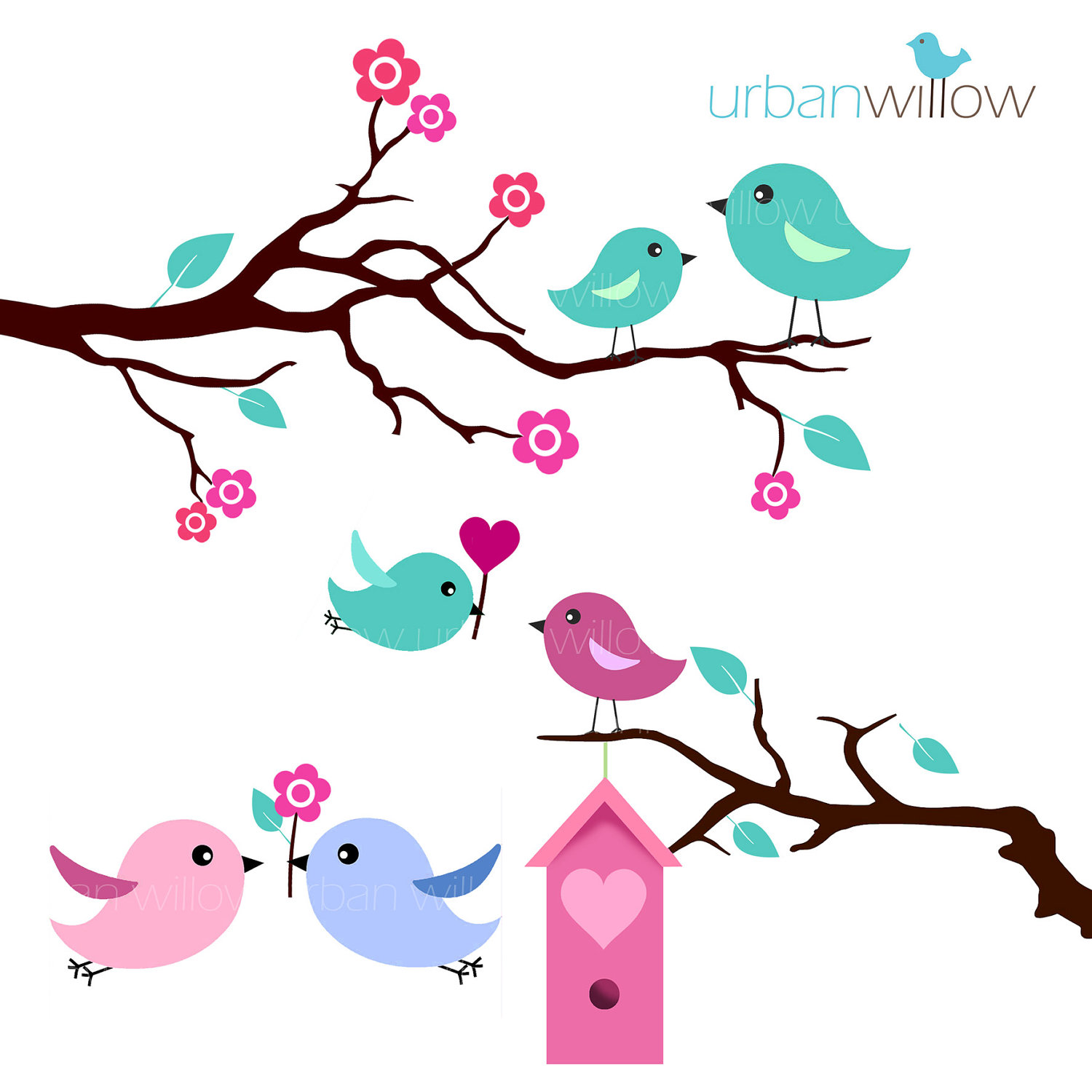 Love clipart mint gree image Mint green love bird clipart - ClipartFest image