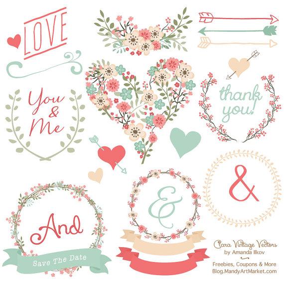 Love clipart mint gree clip art royalty free library Premium Floral Clip Art & Vectors Mint and Coral Wedding clip art royalty free library