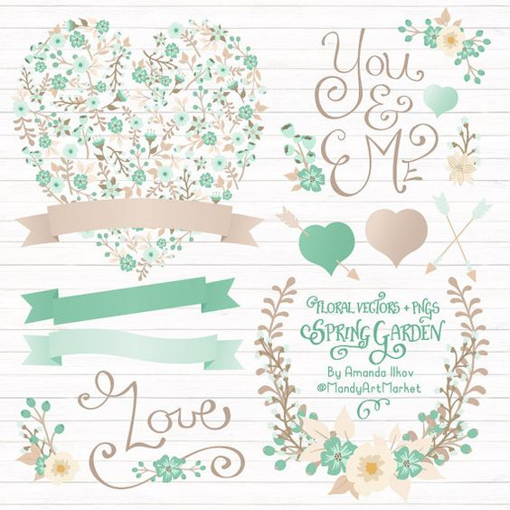 Love clipart mint gree picture freeuse stock Professional Mint Green Floral Heart Clipart & Vectors - Floral ... picture freeuse stock
