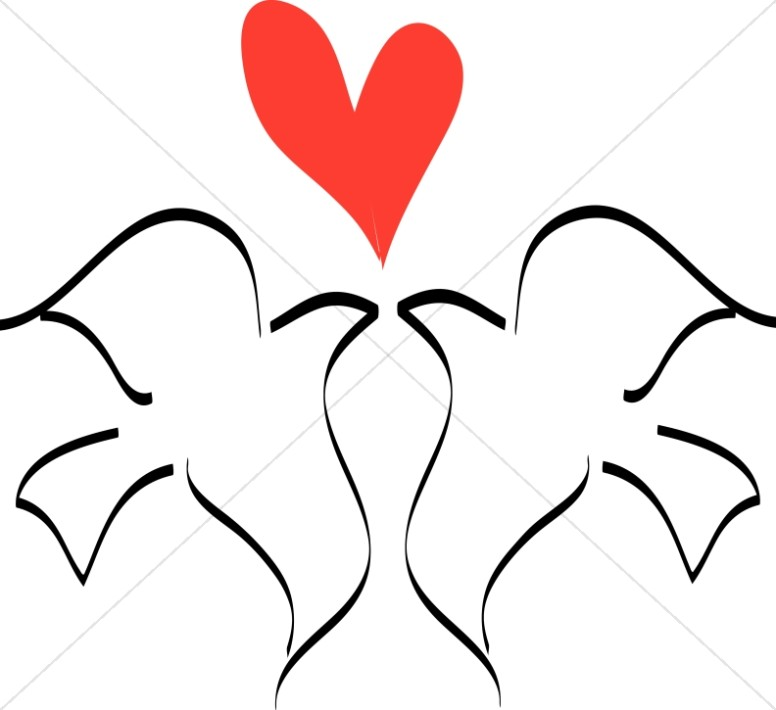 Love doves drawing clipart black and white svg library download Love Birds with Heart Line Drawing | Dove Clipart svg library download