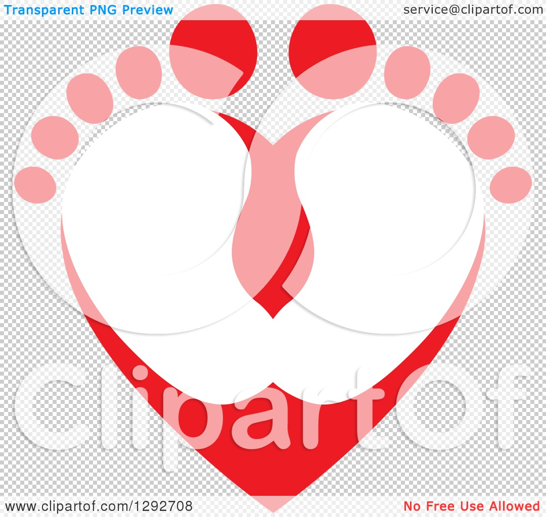 Love feet clipart jpg image library Clipart of a Red Baby Toes and Feet Forming a Heart - Royalty Free ... image library