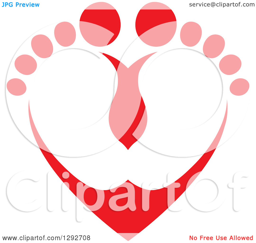 Love feet clipart jpg clip free library Clipart of a Red Baby Toes and Feet Forming a Heart - Royalty Free ... clip free library
