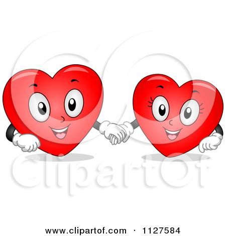 Love hearts happy clipart graphic royalty free stock Cartoon Of Happy Heart Mascots Holding Hands - Royalty Free Vector ... graphic royalty free stock