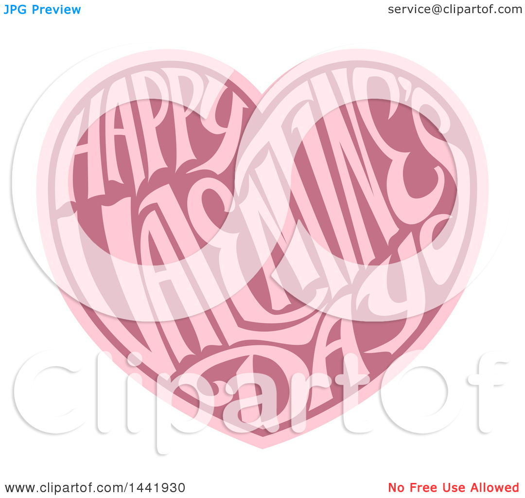 Love hearts happy clipart freeuse Clipart of a Two Toned Love Heart with Happy Valentines Day Text ... freeuse