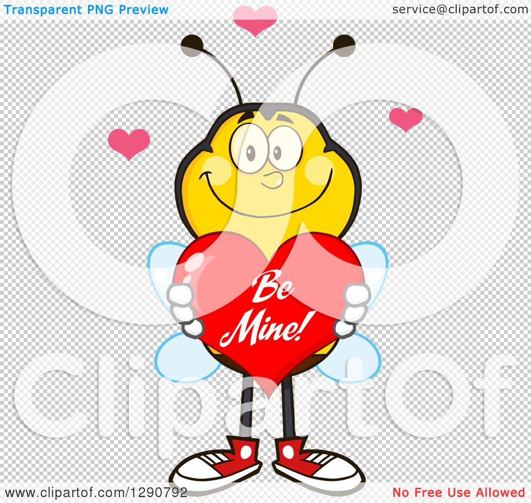 Love hearts happy clipart clip free library Clipart of a Happy Honey Bee Holding a Be Mine Valentine Love ... clip free library