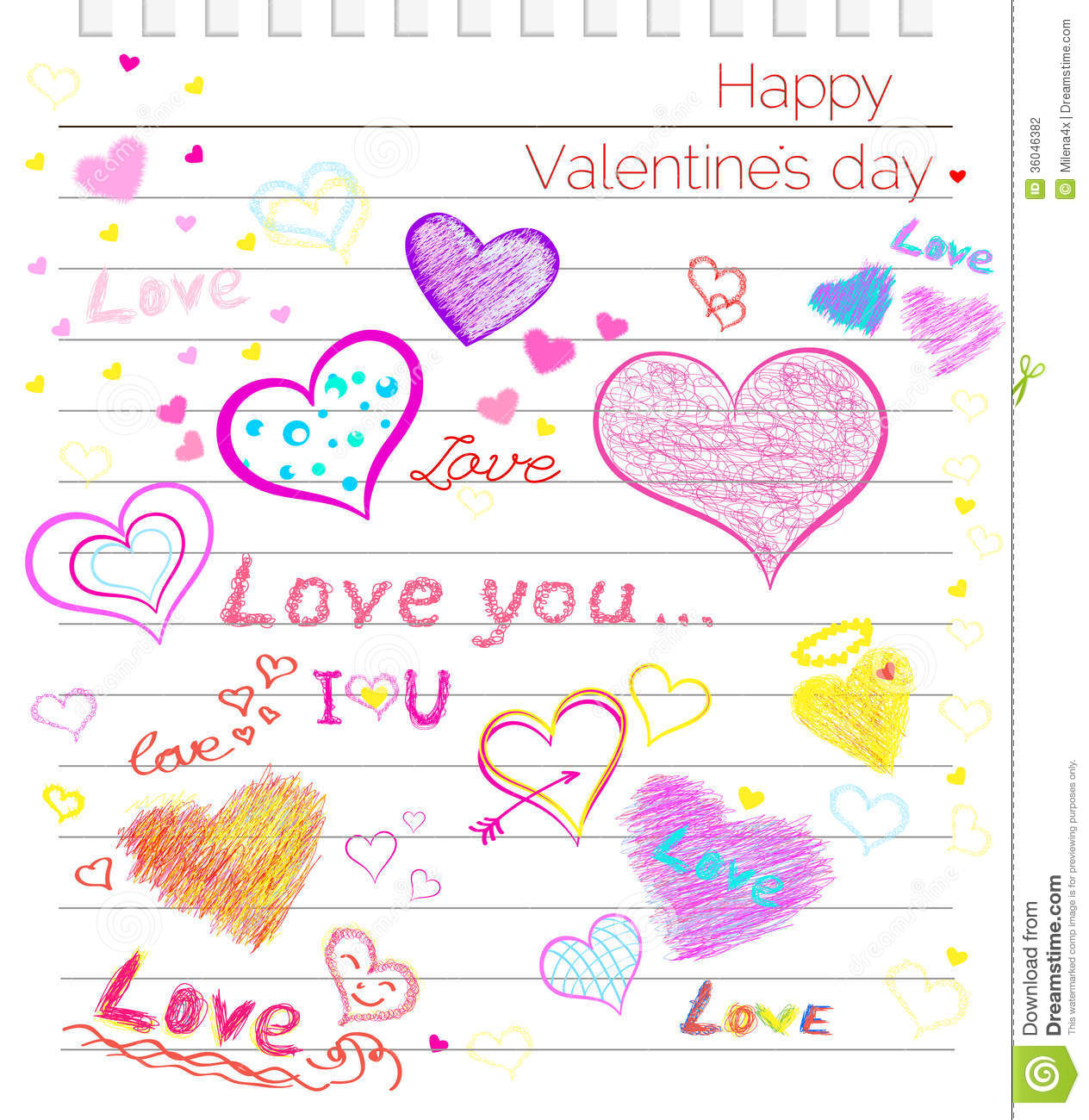 Love hearts happy clipart picture transparent Happy Valentines Day Love, Hearts Sketchy Notebook Stock ... picture transparent