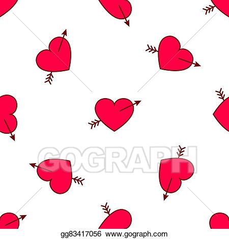 Love pattern clipart clipart Vector Art - Vector valentines hearts with arrows seamless ... clipart