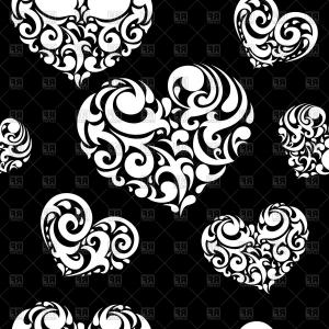 Love pattern clipart clip art freeuse download Seamless Black Background Covered With Ornate White Heart ... clip art freeuse download