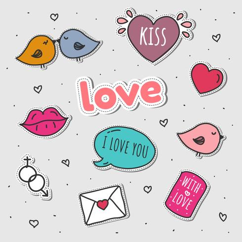 Love stickers clipart picture free Love Stickers Set Vector - Download Free Vectors, Clipart ... picture free