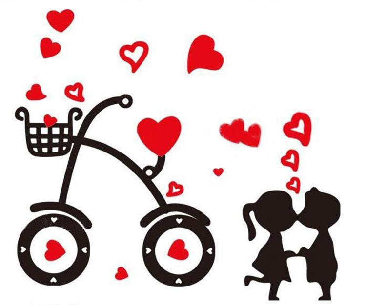 Love stickers clipart vector stock Free Shipping Hot Sell Sweet Cartoon Bicycle Love Wall ... vector stock
